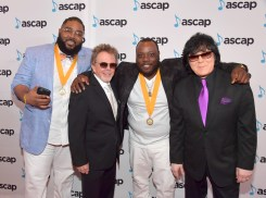BEVERLY HILLS, CA - JUNE 22: (L-R) Traxx Sanders, ASCAP President Paul Williams, Izk Jenkins and EVP/ Membership ASCAP John Titta at the ASCAP 2017 Rhythm & Soul Music Awards at the Beverly Wilshire Four Seasons Hotel on June 22, 2017 in Beverly Hills, California. (Photo by Lester Cohen/Getty Images for ASCAP)