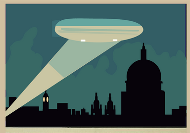 World War 1 Poster showing silhouette of London, searchlight beam and shadow of St Pauls