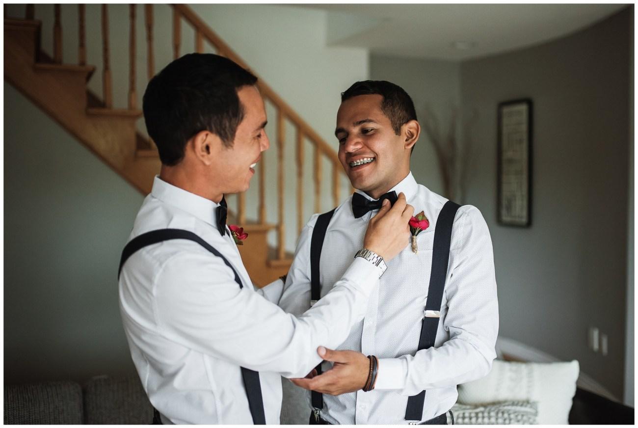 grooms getting ready at a backyard wedding in Porters Lake, Nova Scotia