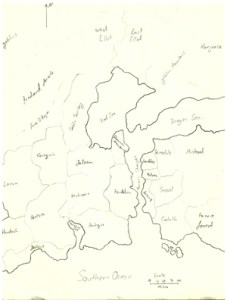 An old outline of the map for the Fandelyon and surrounding kingdoms