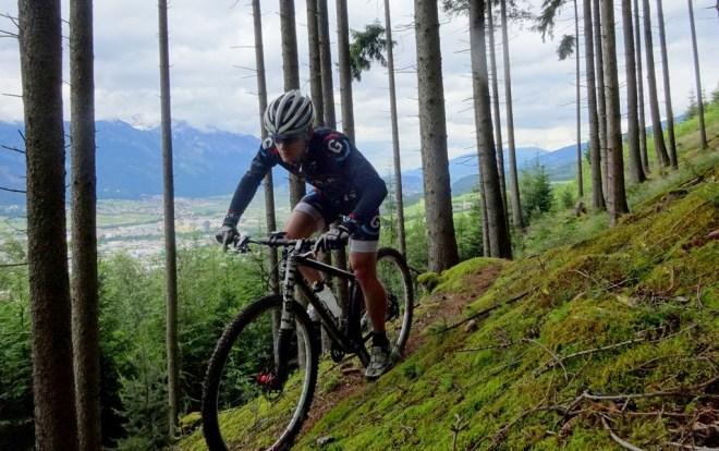 Riding on the Lanserkopfl, overlooking Innsbruck in Tirol, Austria