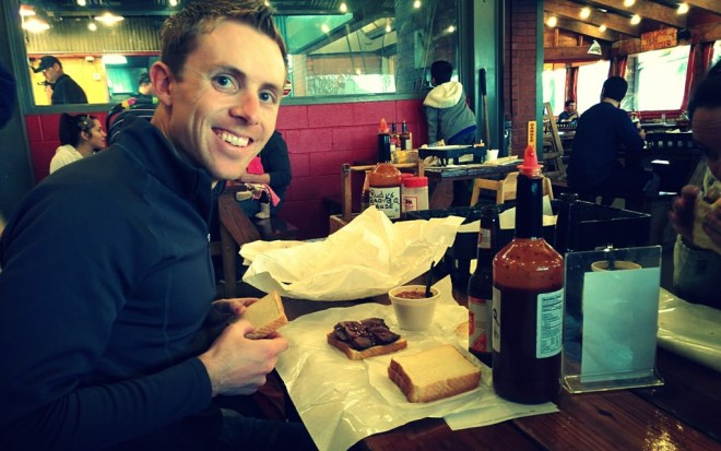 Bryan looking ever so pleased with himself after ordering a half-pound of Brisket
