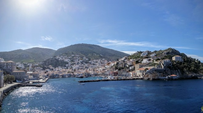 The view of Hydra coming into the harbour. One town on the whole island