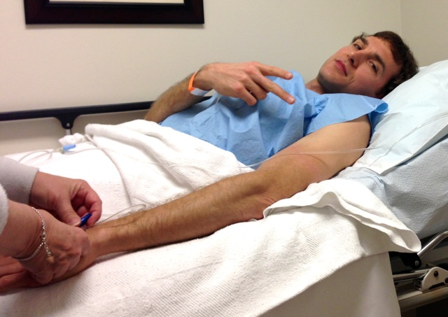 Video: Chris gets a colonoscopy and silly on drugs