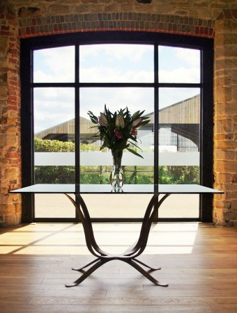 Square glass dining room table