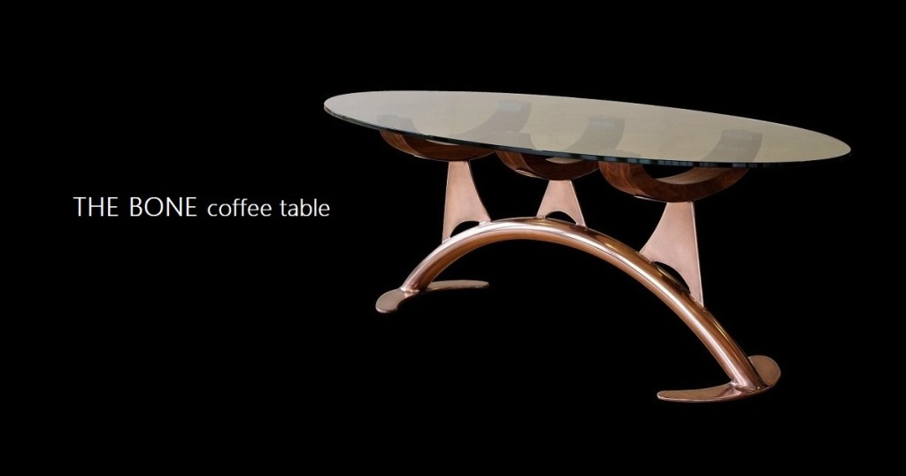 bone coffee table with copper finish