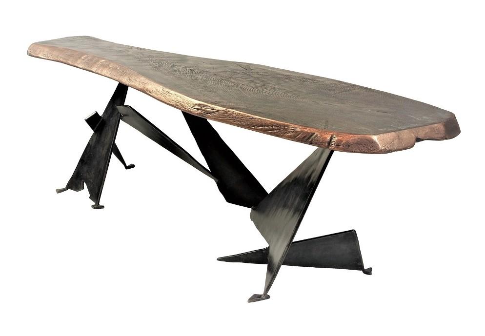 bronze coated wood top table