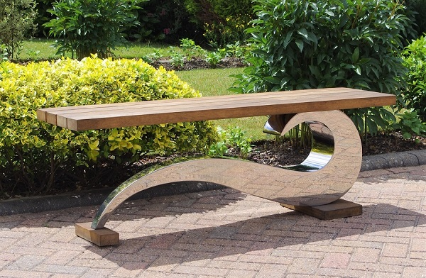 Sculptural metal bench