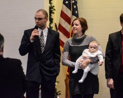 Baby dedication at the Red Brick Church in Stillman Valley