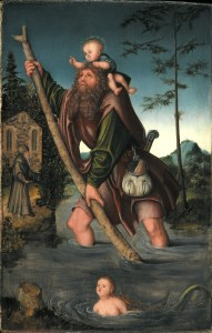 Nearly all images of St. Christopher depict this scene. Lucas Cranach completed this one in Germany, 1516 CE.