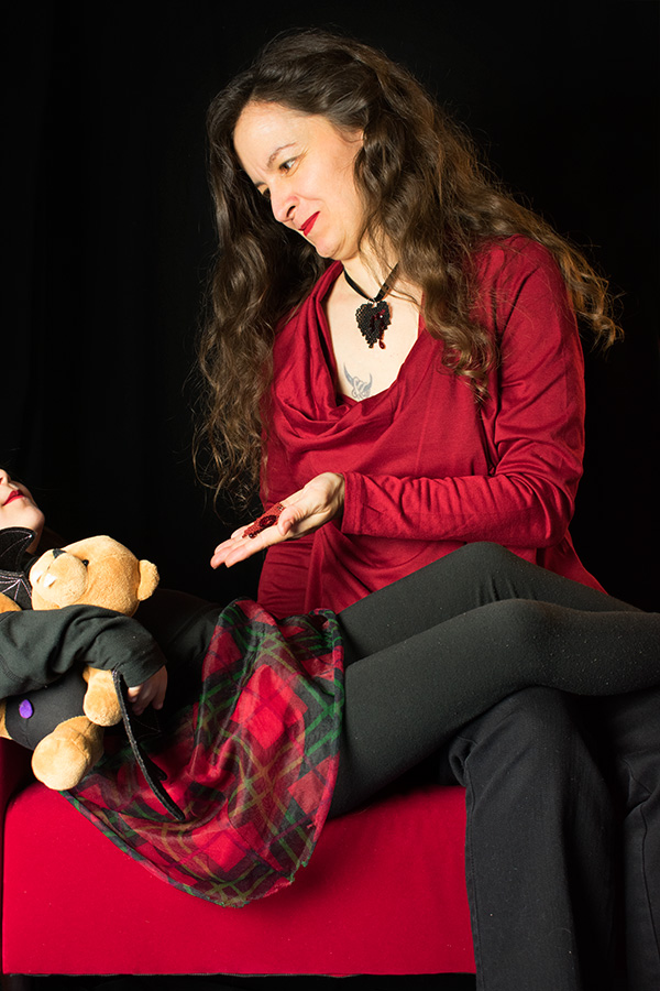 Mother's Day 2018 photo shoot with my daughter, featuring the Bleeding Heart Pendant in red and black
