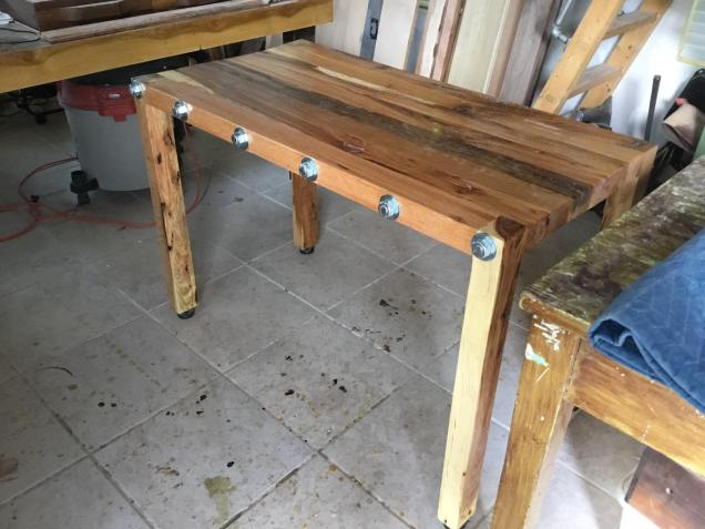 Solid oak table side
