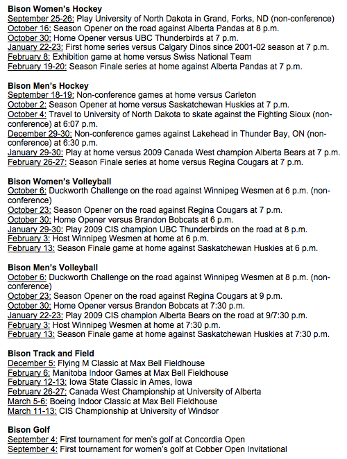 University of Manitoba Bisons 2009-2010 Schedule