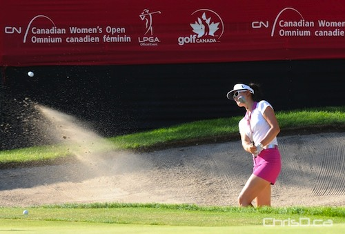 Michelle Wie hits her ball out of a sand trap at the CN Canadian Women's Open at the St. Charles Country Club in Winnipeg on Thursday, August 26, 2010. (RON CANTIVEROS / FILIPINO JOURNAL)