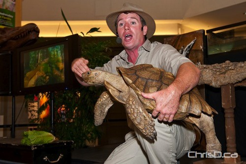 "Safari Jeff holds ""Father Time,"" a 65-pound tortoise at Kildonan Place Shopping Centre on Thursday, September 9, 2010. (TED GRANT / CHRISD.CA FILE)"