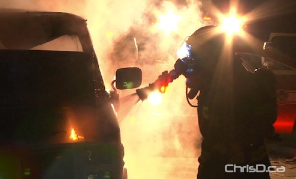 A Winnipeg firefighter puts out a blaze in this September 5, 2010 file photo. (WPGCAMERAMAN / CHRISD.CA)