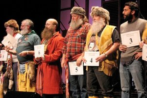 Participants in the Festival du Voyageur's 2010 Beard Growing Contest take part in the final round of judging at the Franco-Manitoban Cultural Centre. (JENNAMIDGET / FLICKR)