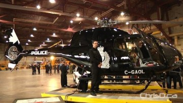"""The Winnipeg Police Service showed off its brand new crime-fighting EC-120 Colibri helicopter, dubbed """"Air One,"""" at 17 Wing on Monday, December 6, 2010. (WPGCAMERAMAN / CHRISD.CA)"""