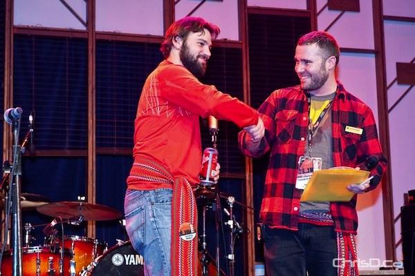 CTV Winnipeg photojournalist Scott Andersson (left) won best beard in the Media category in Festival du Voyageur's Beard Growing Contest on Friday, February 25, 2011. (TED GRANT / CHRISD.CA)