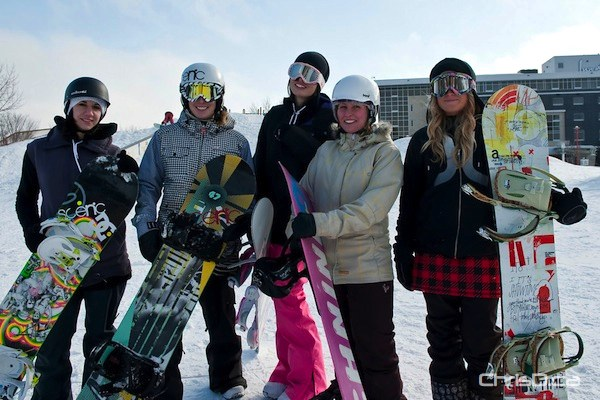 A group of ladies take a breather from competing in the third annual Snow Jam snowboard competition at The Forks on Saturday, February 12, 2011. (TED GRANT / CHRISD.CA)