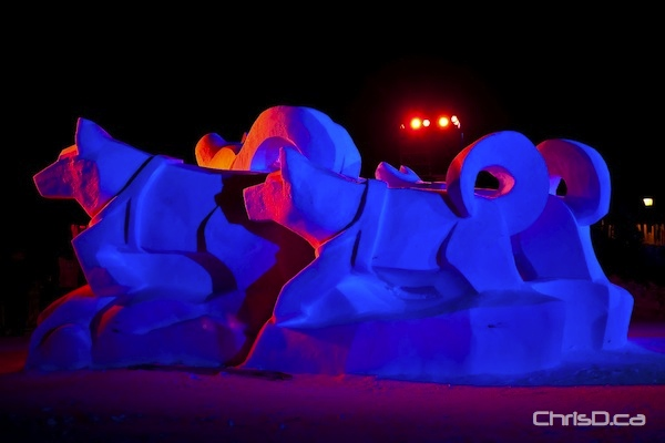 One of several extraordinary snow sculptures at Voyageur Park, part of the 42nd annual Festival du Voyageur. (TED GRANT / CHRISD.CA)