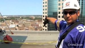 99.9 BOB FM's Jay Richardson prepares to rappel down the RBC Building during the 2010 Drop Zone. (WPGCAMERAMAN / CHRISD.CA)