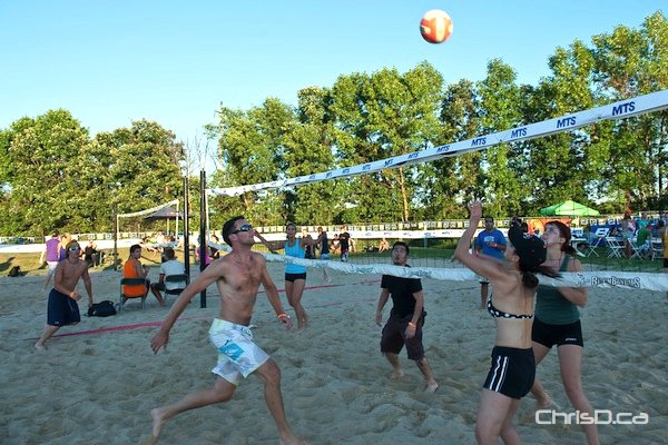 Players compete in the 2011 Super-Spike volleyball tournament at Maple Grove Rugby Park. (TED GRANT / CHRISD.CA)