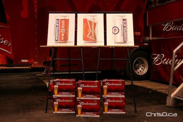 Cases of Winnipeg Jets-branded Budweiser beer is shown at MTS Centre on Monday. (DARRIN BAUMING / CHRISD.CA)