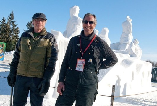 Sculptors Jim Alexander and David MacNair stand next to their creation as part of the International Snow Sculpting Symposium near the main entrance of Festival du Voyageur on Saturday, February 18, 2012. (STAN MILOSEVIC / CHRISD.CA)