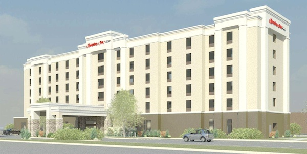 An artist's rendering shows what the Hampton Inn Winnipeg Airport hotel will eventually look like. (ACI WRIGHT ARCHITECTS INC / HANDOUT)