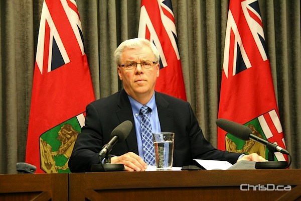 Premier Greg Selinger addresses the media on the government's complimentary ticket policy during a news conference on Friday, May 11, 2012. (DARRIN BAUMING / CHRISD.CA)