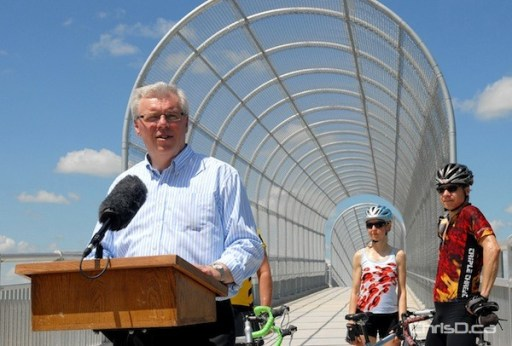 Premier Greg Selinger speaks during a ceremony to officially open the Duff Roblin Parkway Trail over Highway 59 on Tuesday, July 3, 2012. (STAN MILOSEVIC / CHRISD.CA)