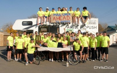 U of M Students Push Bed Along Trans-Canada Highway