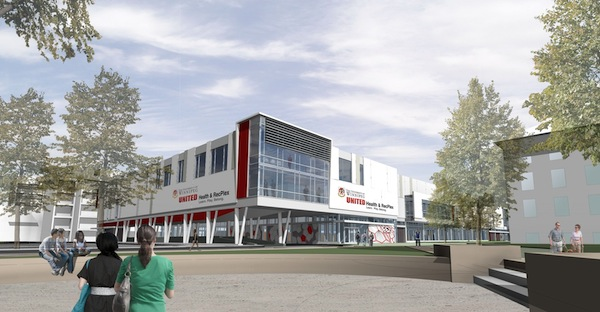 An artist's rendering of the future UNITED Health and RecPlex at the University of Winnipeg (HANDOUT)
