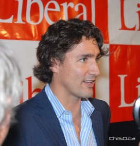 Justin Trudeau speaks to the media following his rally on Saturday afternoon. (STAN MILOSEVIC / CHRISD.CA)
