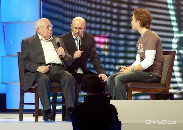 Mikhail Gorbachev, former president of the Soviet Union and Nobel Peace Laureate, speaks during We Day at MTS Centre on Tuesday. (STAN MILOSEVIC / CHRISD.CA)