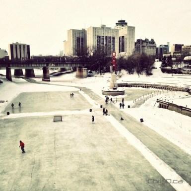 Skaters enjoy the Assiniboine River Trail at The Forks on Friday, December 28, 2012. (CHRISD.CA)