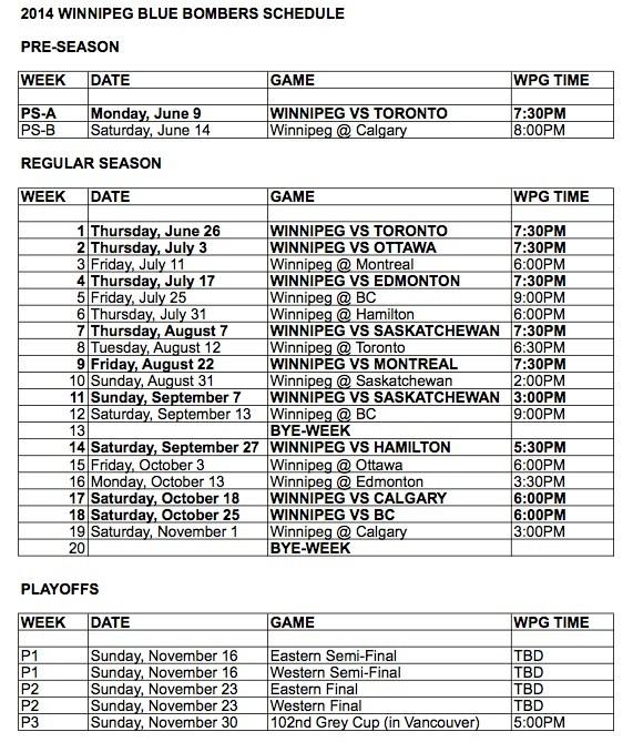 Winnipeg Blue Bombers 2014 Schedule