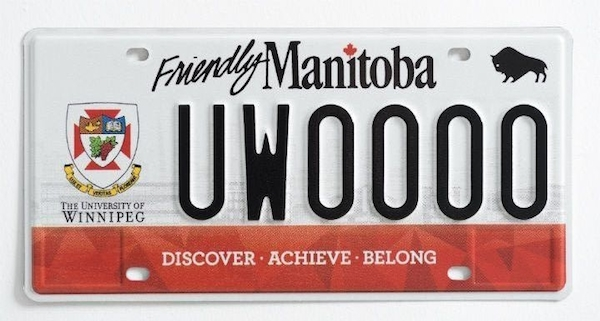 University of Winnipeg Licence Plate