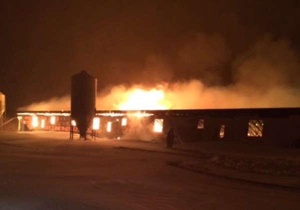 A barn on fire near Kola, Man. on March 24 , 2015. (RCMP)
