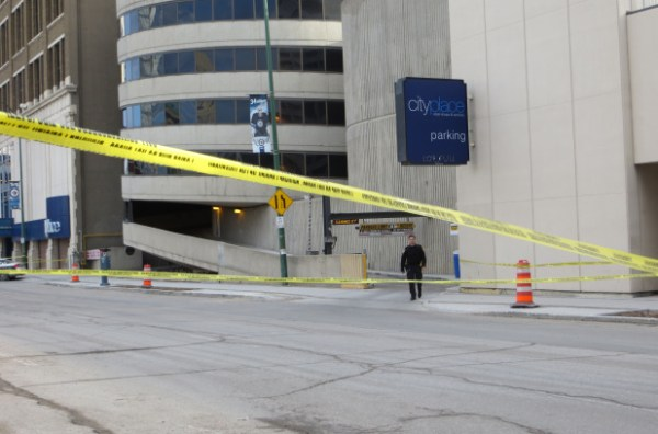 Winnipeg police at the scene of a serious assault at the CityPlace Parkade on Wednesday, April 1, 2015. (BERNICE PONTANILLA/METRO WINNIPEG)