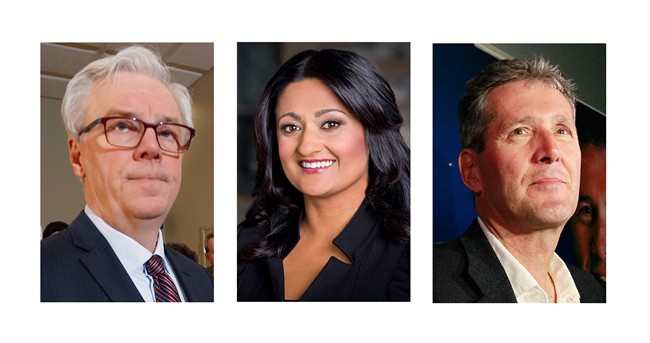Manitoba NDP Leader Greg Selinger (left), Liberal Leader Rana Bokhari and Progressive Conservative Leader Brian Pallister (right) are shown in these recent photos. (THE CANADIAN PRESS/CP/HO)