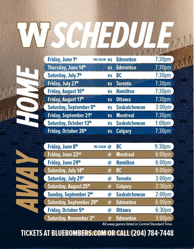 Winnipeg Blue Bombers - 2018 Schedule