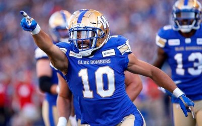 Whitehead Catches Two Touchdowns to Lead Blue Bombers Past Eskimos 28-21