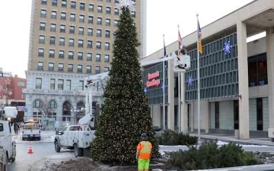 Winnipeg Lighting 28-Foot Christmas Tree at City Hall