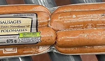 Harvest Meats Sausages Recalled in Manitoba Over Undercooking