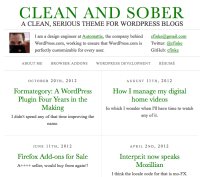 The Clean and Sober homepage with a menu defined and a default author bio.