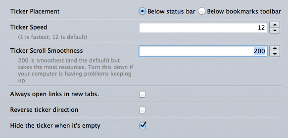 RSS Ticker Options