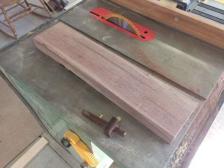 The rough-sawn 8/4 walnut from the lumberyard