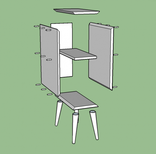 Exploded SketchUp Model of the cabinet of a Midcentury Modern Side Table with two drawers and a shelf